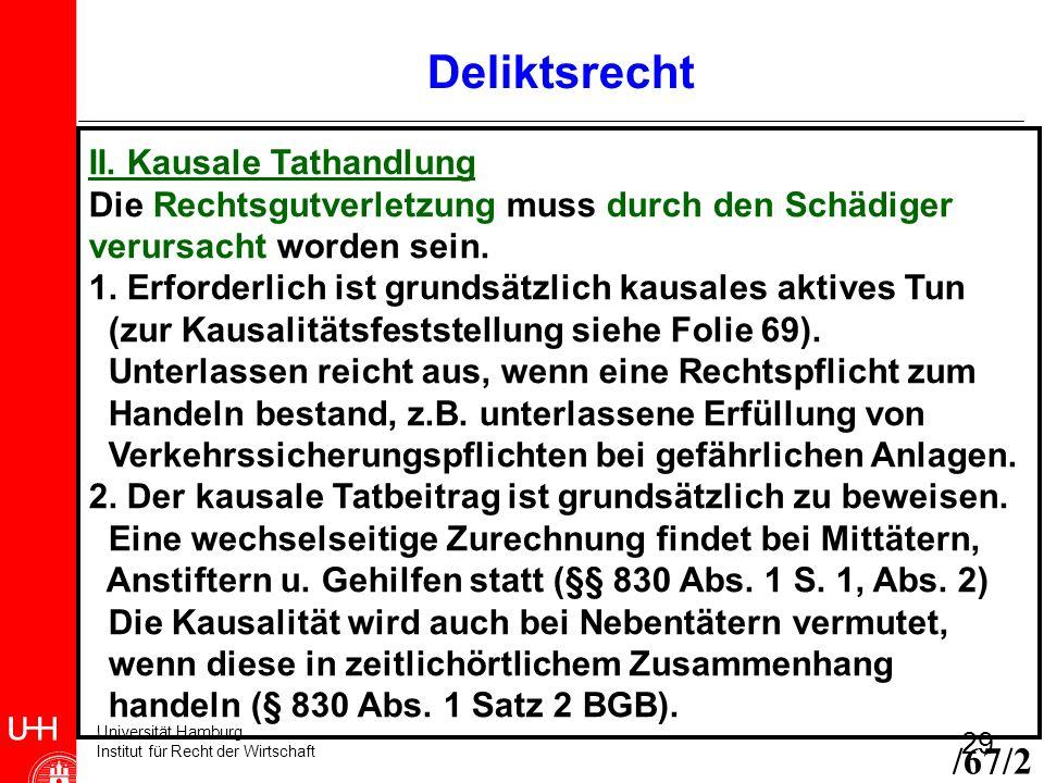 Deliktsrecht /67/2 II. Kausale Tathandlung