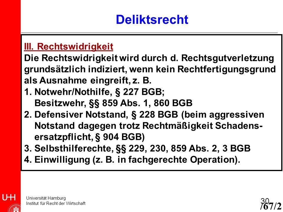 Deliktsrecht /67/2 III. Rechtswidrigkeit