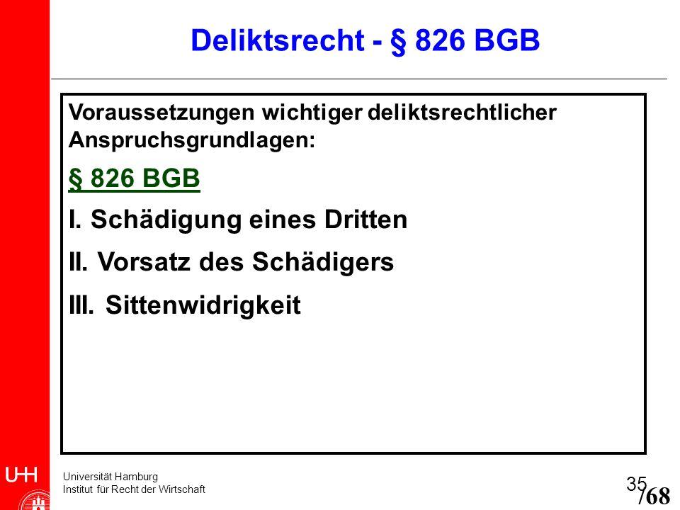 Deliktsrecht - § 826 BGB § 826 BGB I. Schädigung eines Dritten