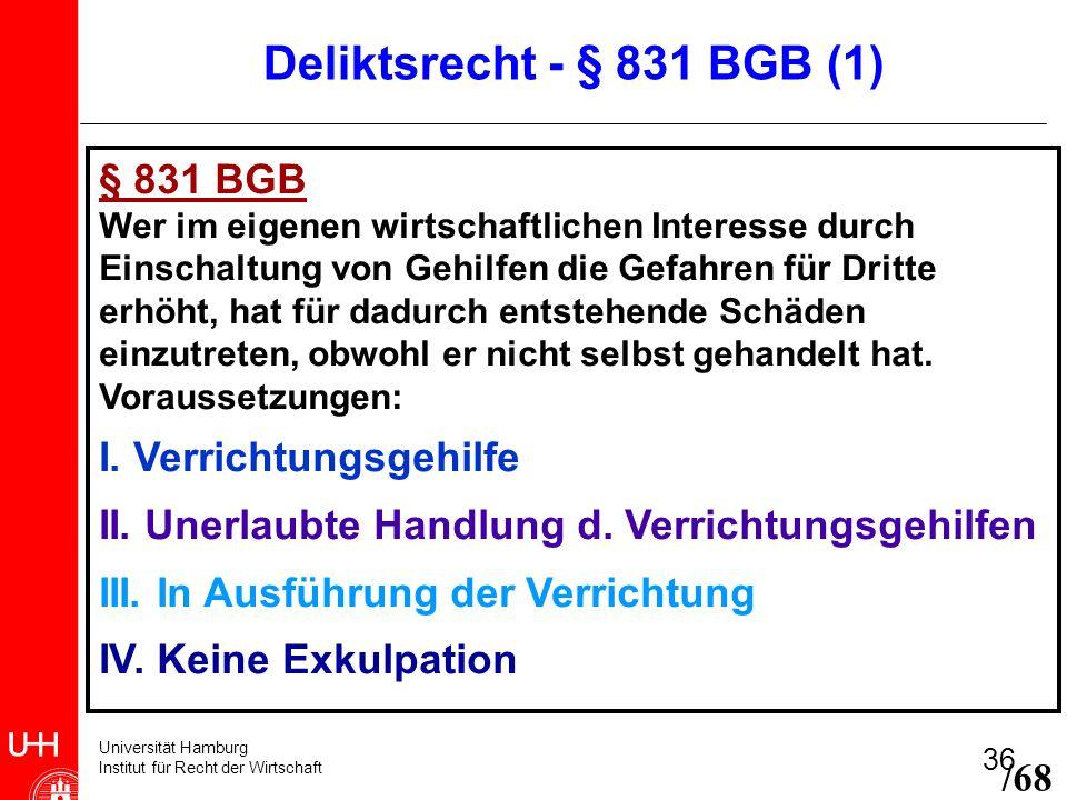 Deliktsrecht - § 831 BGB (1) § 831 BGB I. Verrichtungsgehilfe