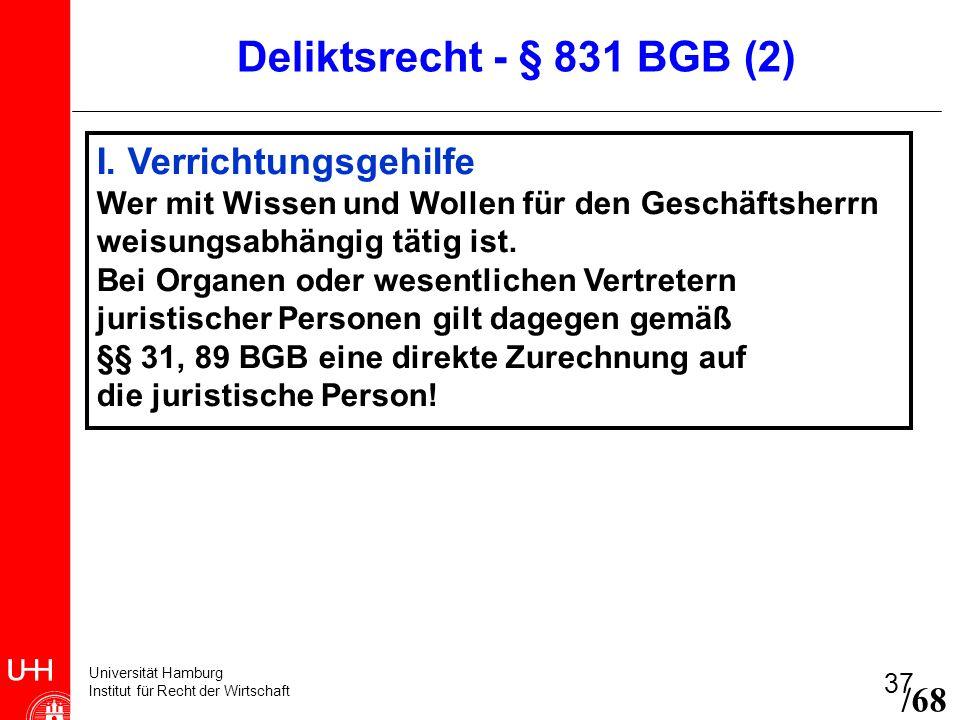 Deliktsrecht - § 831 BGB (2) I. Verrichtungsgehilfe /68