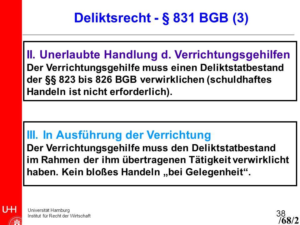 Deliktsrecht - § 831 BGB (3) II. Unerlaubte Handlung d. Verrichtungsgehilfen. Der Verrichtungsgehilfe muss einen Deliktstatbestand.