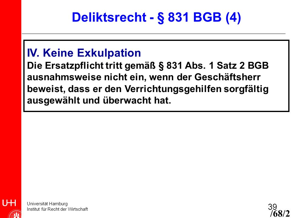 Deliktsrecht - § 831 BGB (4) IV. Keine Exkulpation