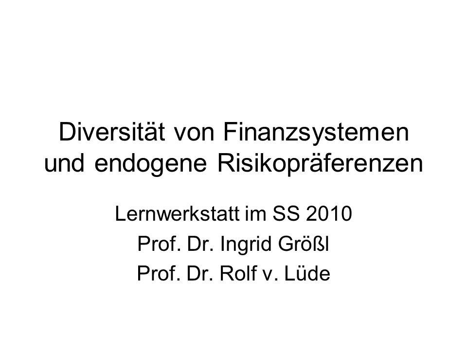 Diversität von Finanzsystemen und endogene Risikopräferenzen
