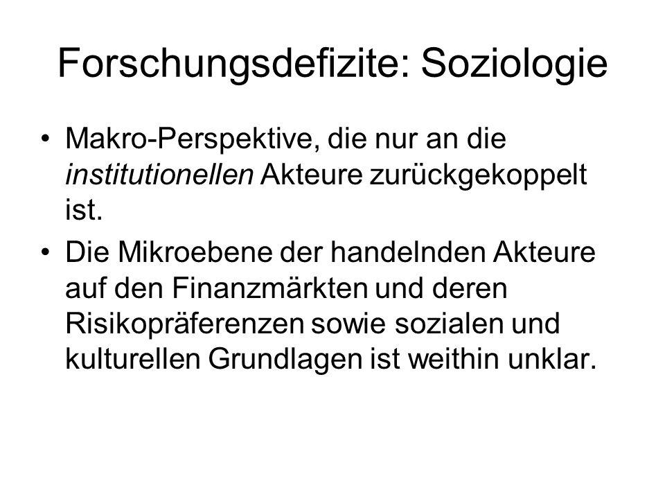 Forschungsdefizite: Soziologie
