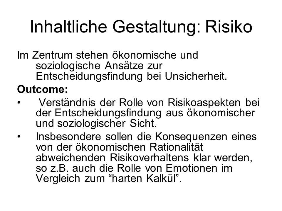 Inhaltliche Gestaltung: Risiko