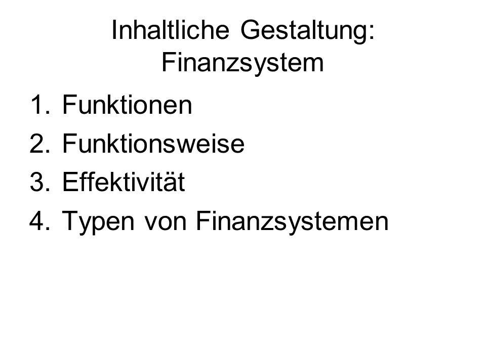 Inhaltliche Gestaltung: Finanzsystem