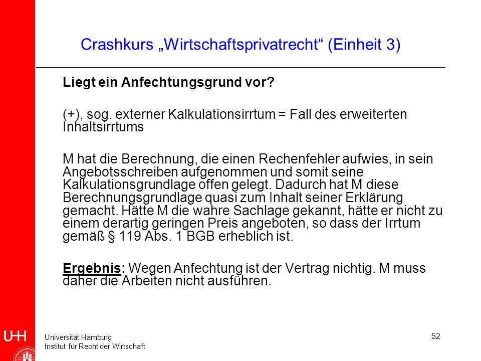 """Crashkurs """"Wirtschaftsprivatrecht (Einheit 3)"""