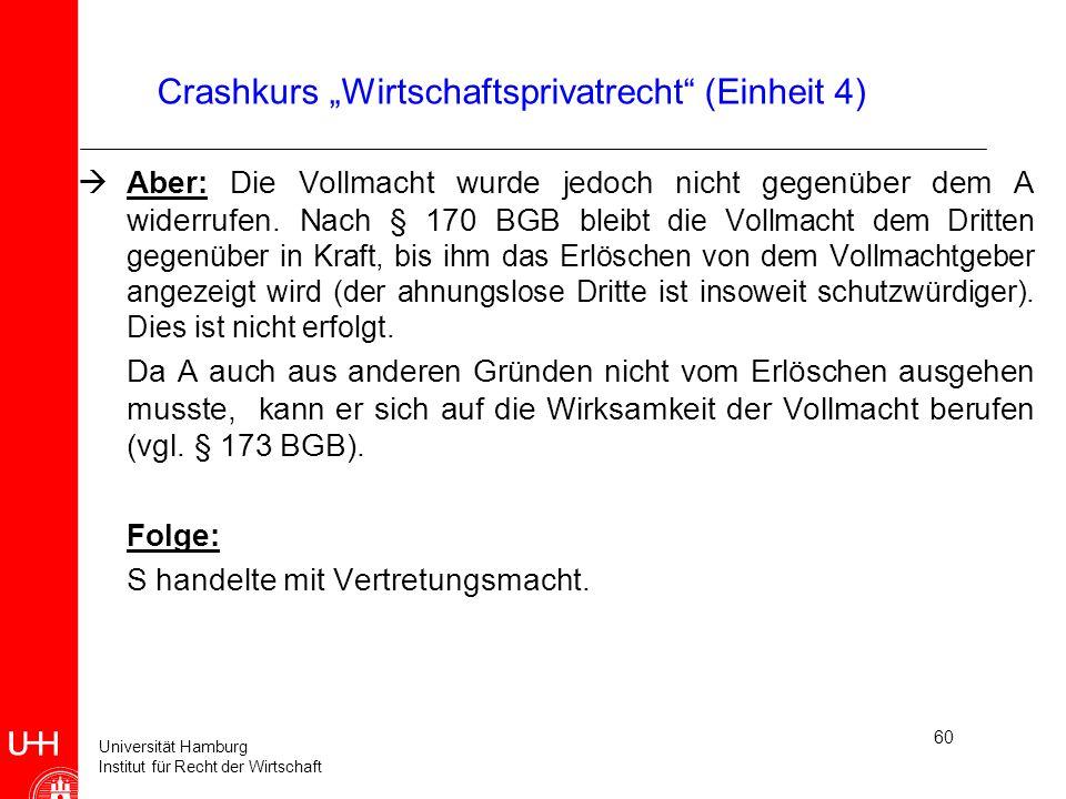 """Crashkurs """"Wirtschaftsprivatrecht (Einheit 4)"""