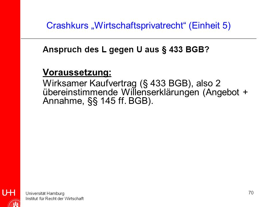 """Crashkurs """"Wirtschaftsprivatrecht (Einheit 5)"""