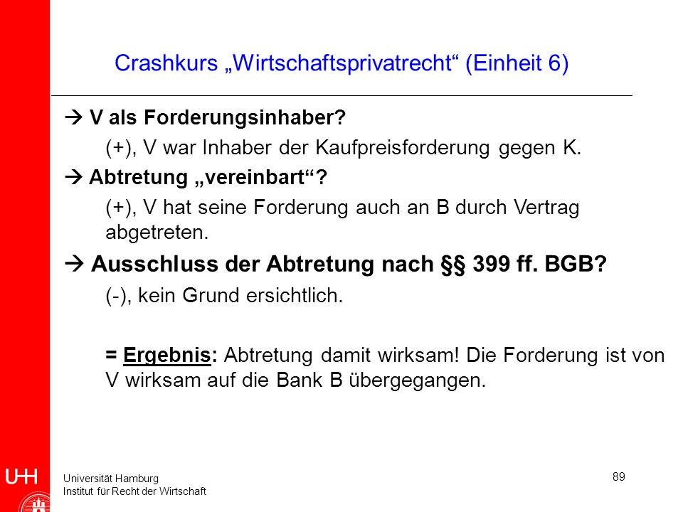 """Crashkurs """"Wirtschaftsprivatrecht (Einheit 6)"""