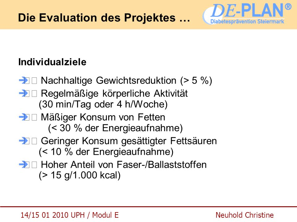 Die Evaluation des Projektes …