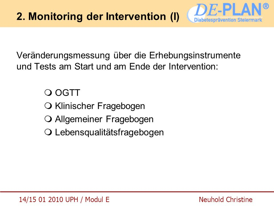 2. Monitoring der Intervention (I)