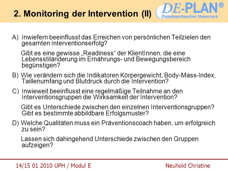 2. Monitoring der Intervention (II)