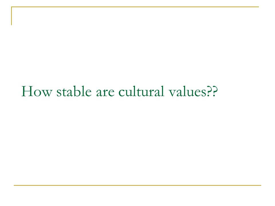 How stable are cultural values