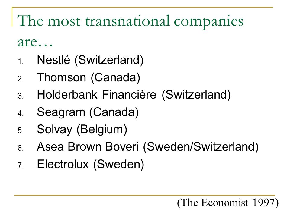 The most transnational companies are…