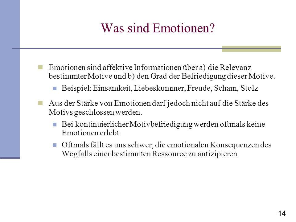 Was sind Emotionen Emotionen sind affektive Informationen über a) die Relevanz bestimmter Motive und b) den Grad der Befriedigung dieser Motive.
