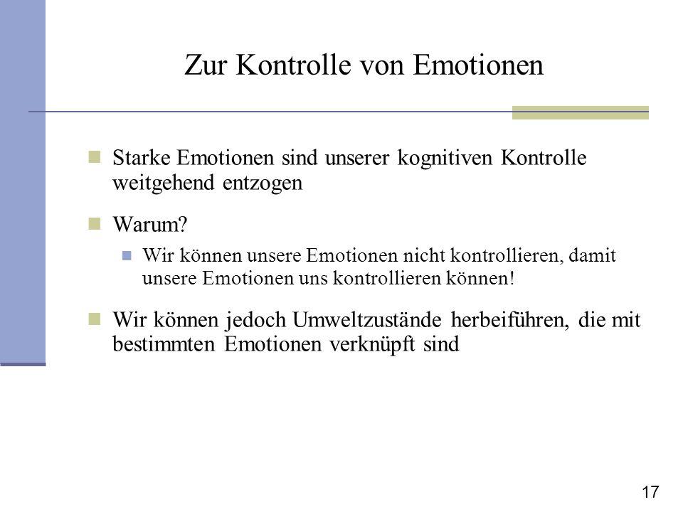 Zur Kontrolle von Emotionen
