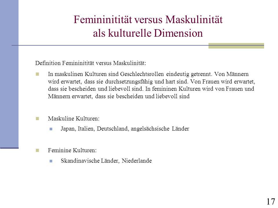 Femininitität versus Maskulinität als kulturelle Dimension