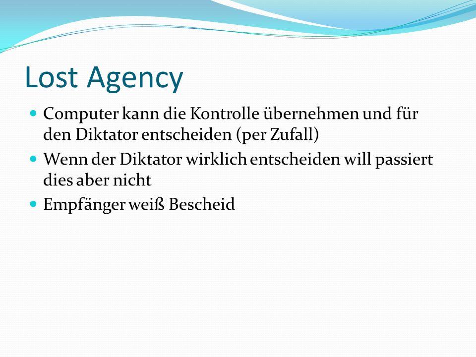 Lost Agency Computer kann die Kontrolle übernehmen und für den Diktator entscheiden (per Zufall)