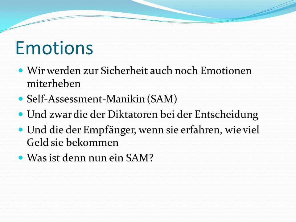 Emotions Wir werden zur Sicherheit auch noch Emotionen miterheben