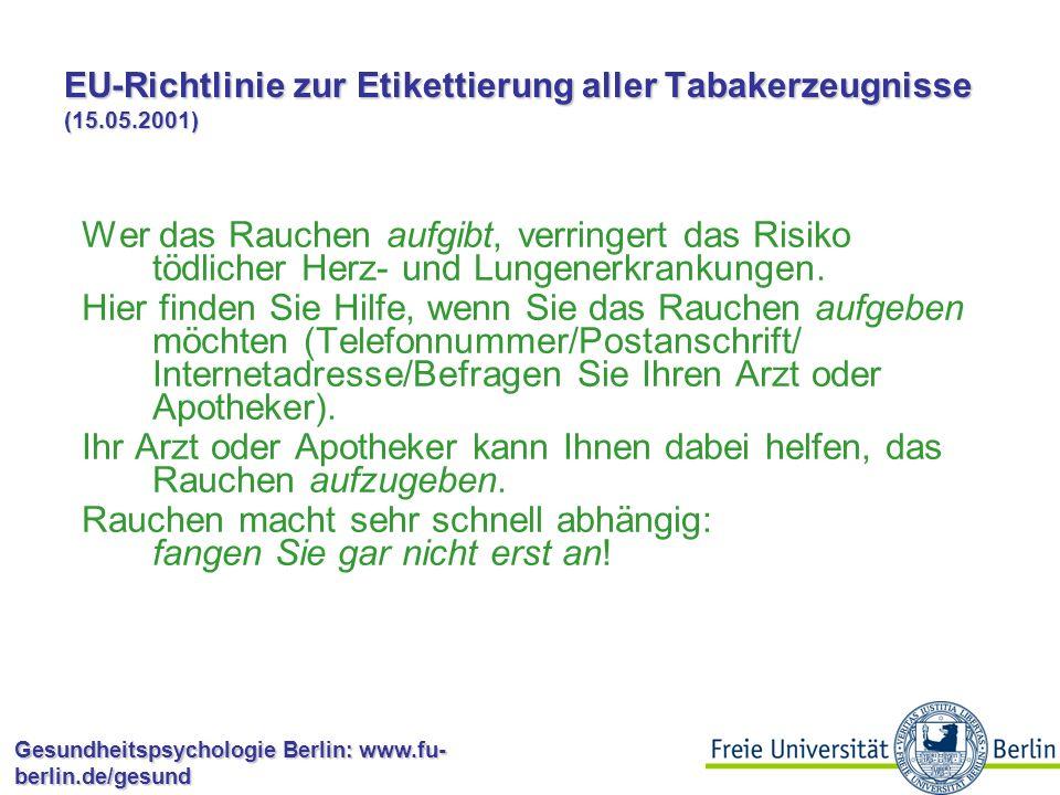 EU-Richtlinie zur Etikettierung aller Tabakerzeugnisse (15.05.2001)