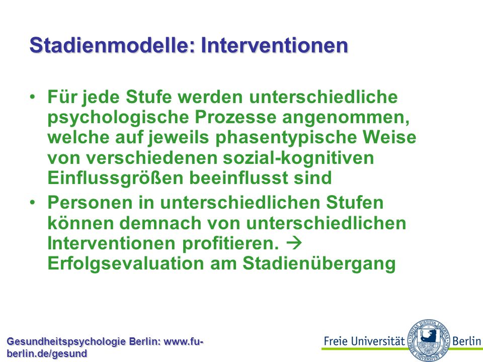 Stadienmodelle: Interventionen