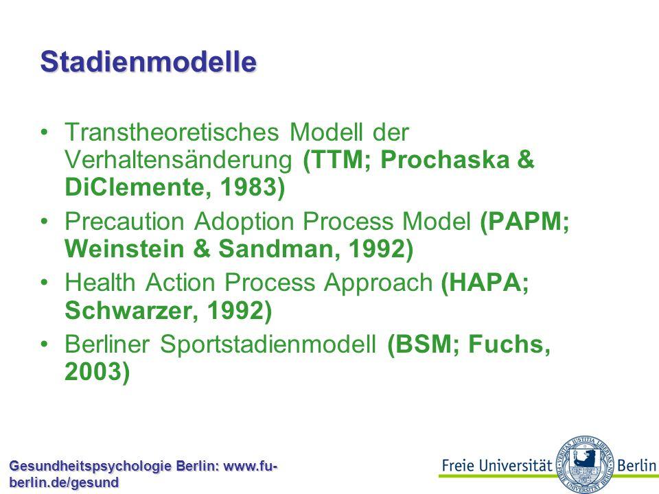 Stadienmodelle Transtheoretisches Modell der Verhaltensänderung (TTM; Prochaska & DiClemente, 1983)