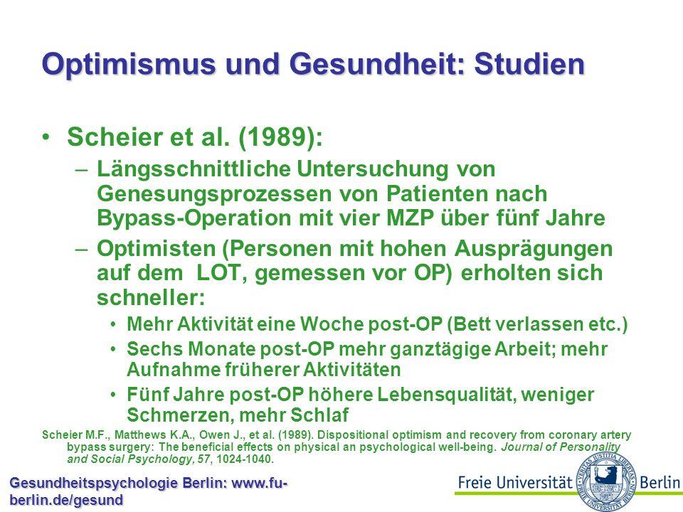 Optimismus und Gesundheit: Studien