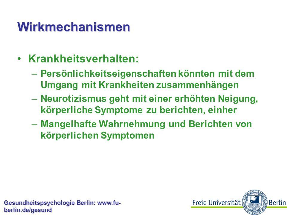 Wirkmechanismen Krankheitsverhalten: