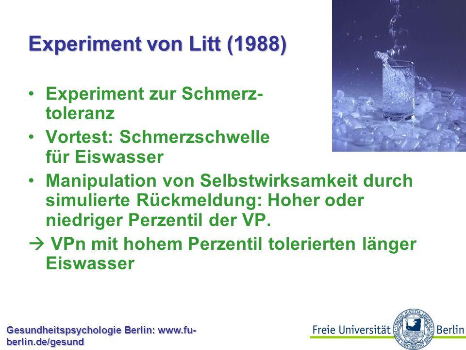 Experiment von Litt (1988) Experiment zur Schmerz- toleranz