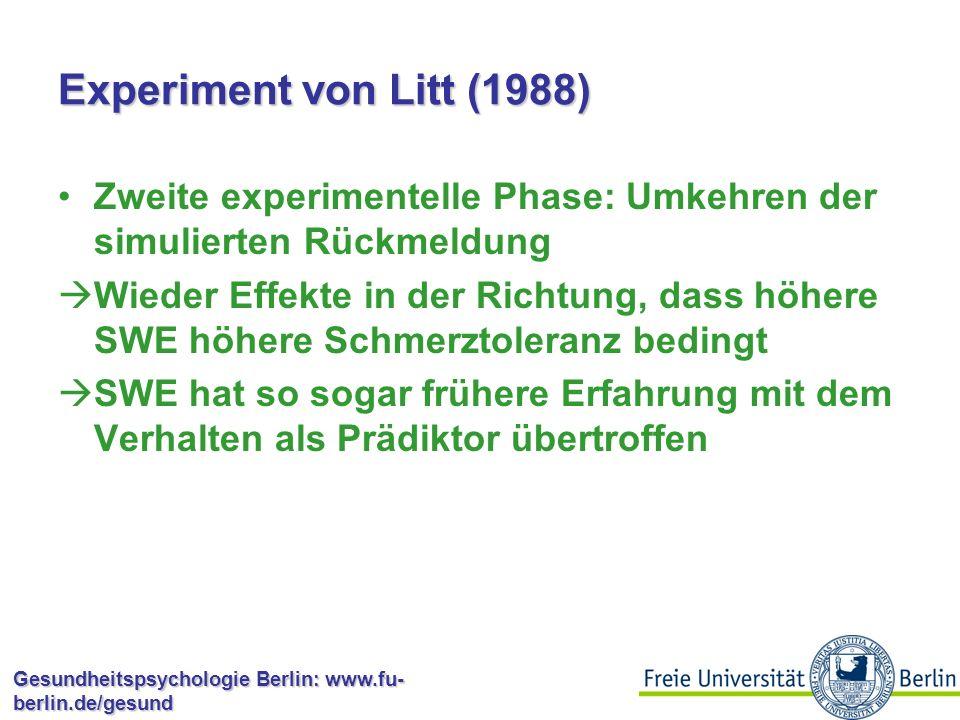 Experiment von Litt (1988) Zweite experimentelle Phase: Umkehren der simulierten Rückmeldung.