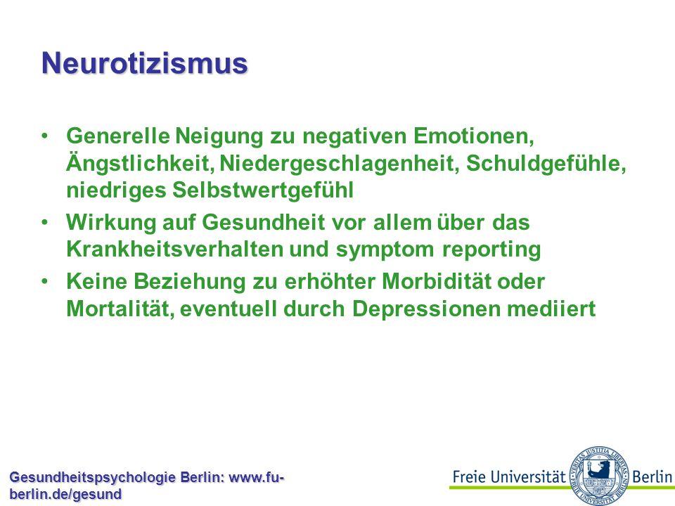 Neurotizismus Generelle Neigung zu negativen Emotionen, Ängstlichkeit, Niedergeschlagenheit, Schuldgefühle, niedriges Selbstwertgefühl.