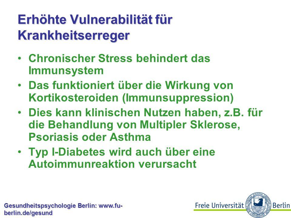 Erhöhte Vulnerabilität für Krankheitserreger