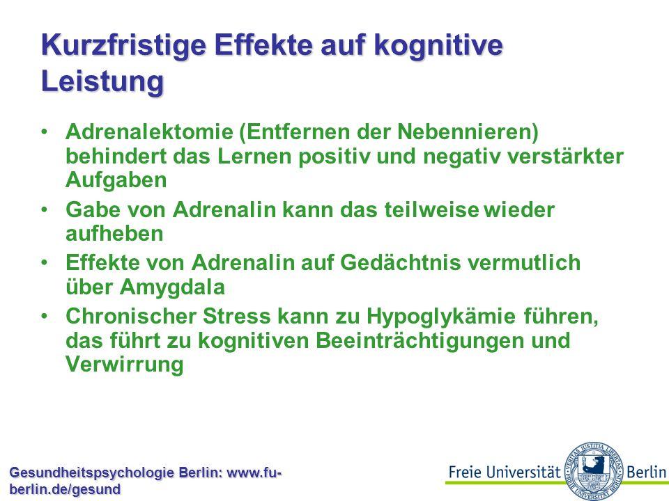 Kurzfristige Effekte auf kognitive Leistung
