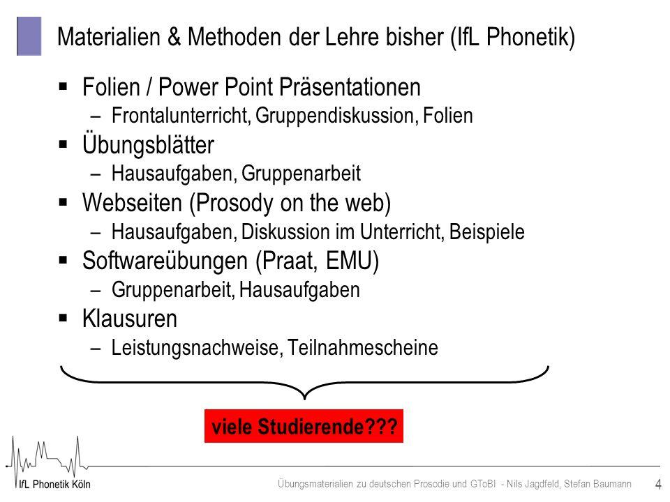 Materialien & Methoden der Lehre bisher (IfL Phonetik)