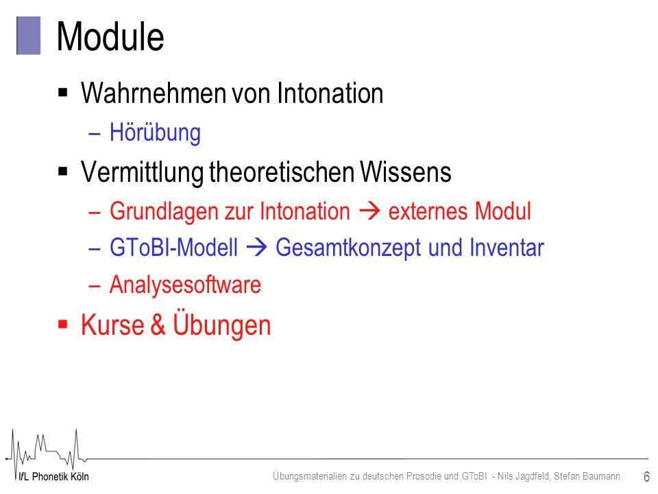 Module Wahrnehmen von Intonation Vermittlung theoretischen Wissens