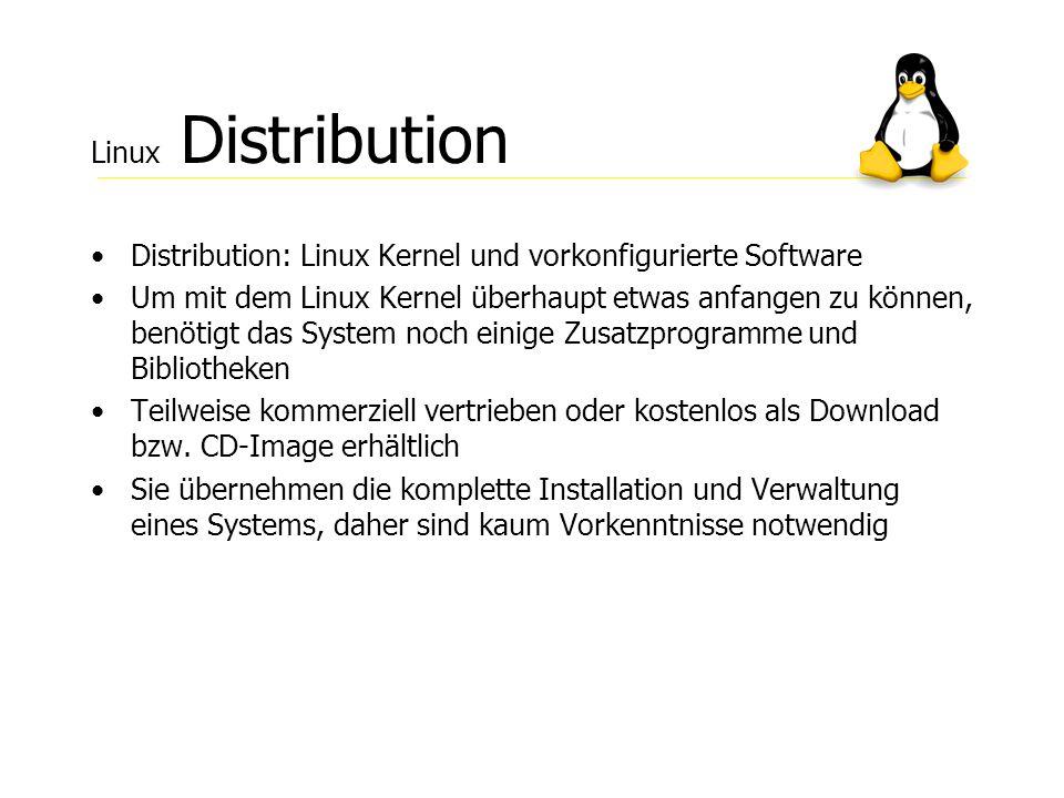 Linux Distribution Distribution: Linux Kernel und vorkonfigurierte Software.