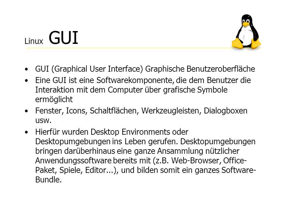Linux GUI GUI (Graphical User Interface) Graphische Benutzeroberfläche.