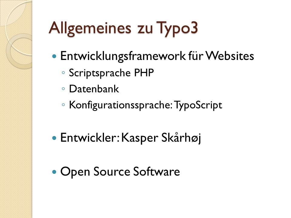 Allgemeines zu Typo3 Entwicklungsframework für Websites