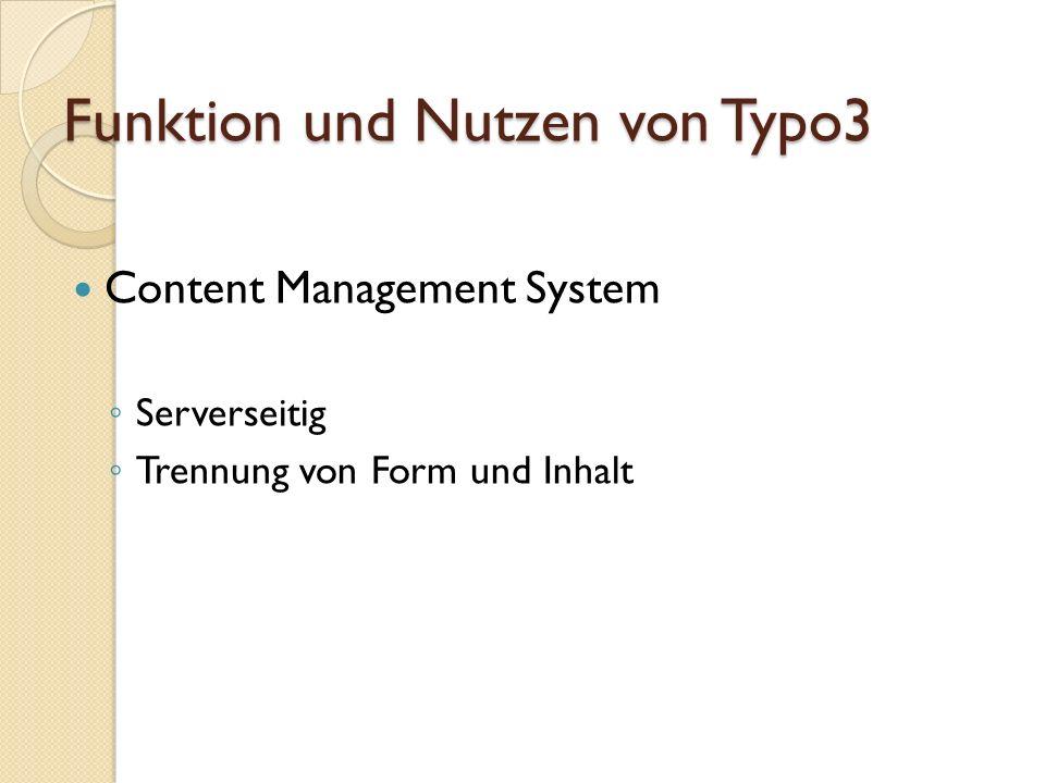 Funktion und Nutzen von Typo3