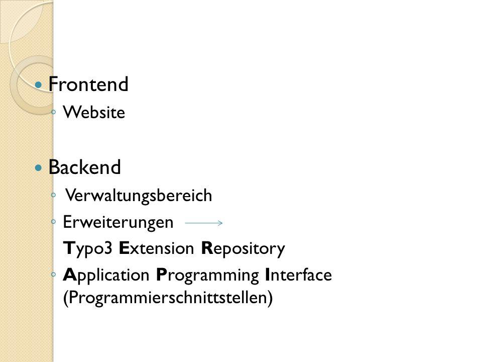 Frontend Backend Website Verwaltungsbereich Erweiterungen