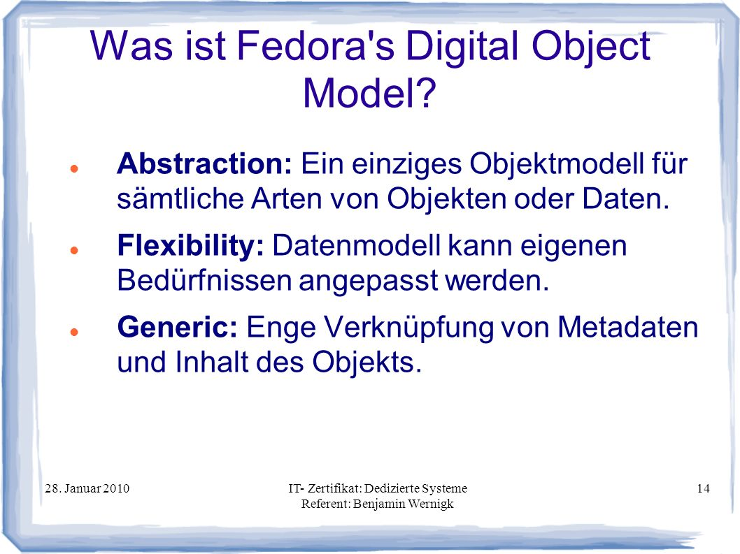 Was ist Fedora s Digital Object Model