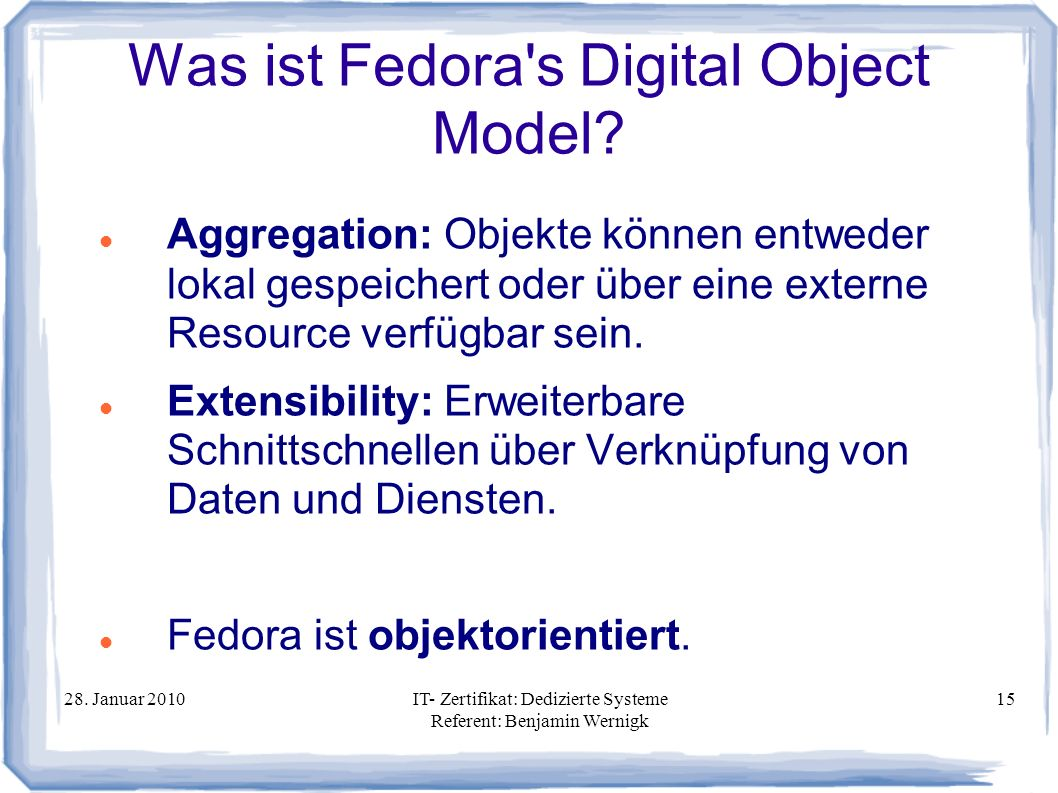 Was ist Fedora s Digital Object Model