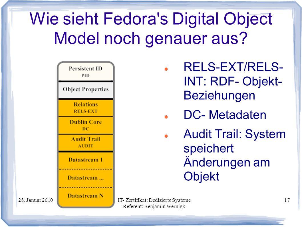 Wie sieht Fedora s Digital Object Model noch genauer aus
