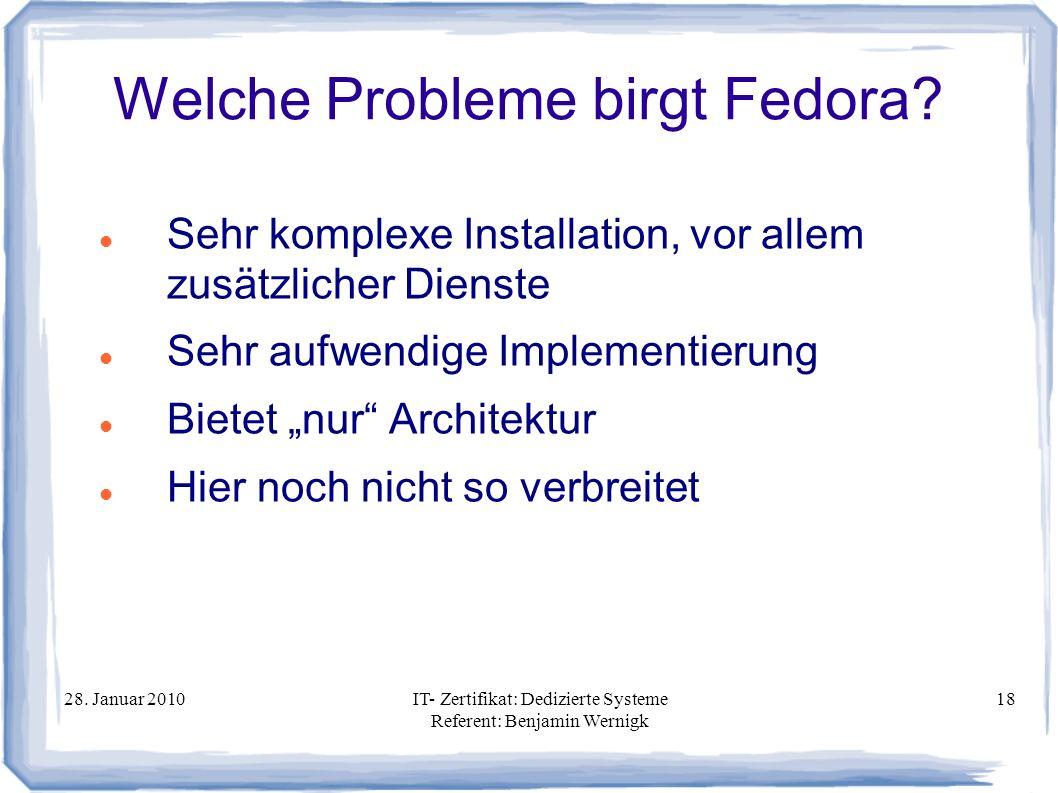 Welche Probleme birgt Fedora