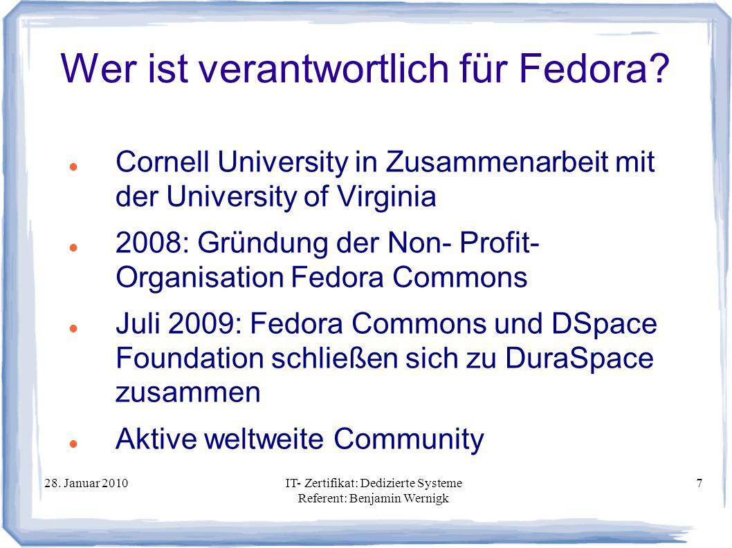Wer ist verantwortlich für Fedora
