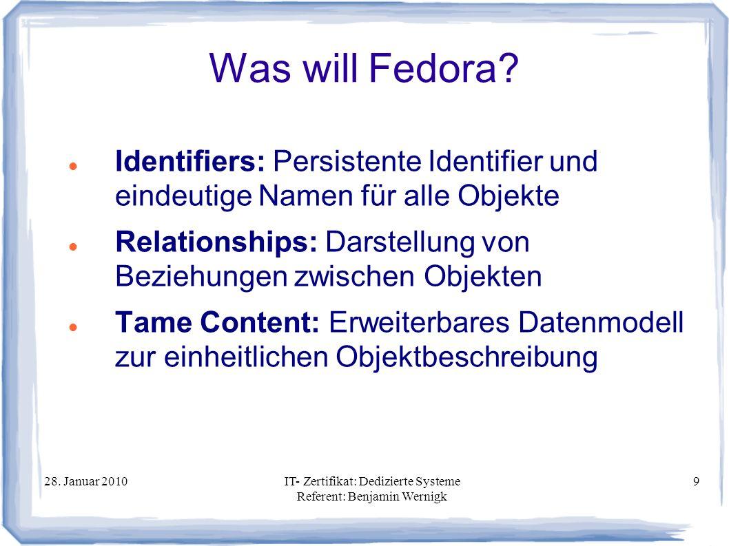 Was will Fedora Identifiers: Persistente Identifier und eindeutige Namen für alle Objekte.