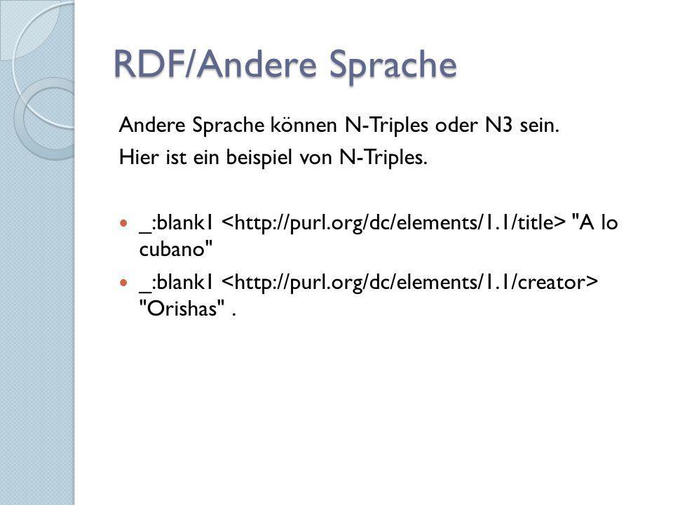 RDF/Andere Sprache Andere Sprache können N-Triples oder N3 sein.