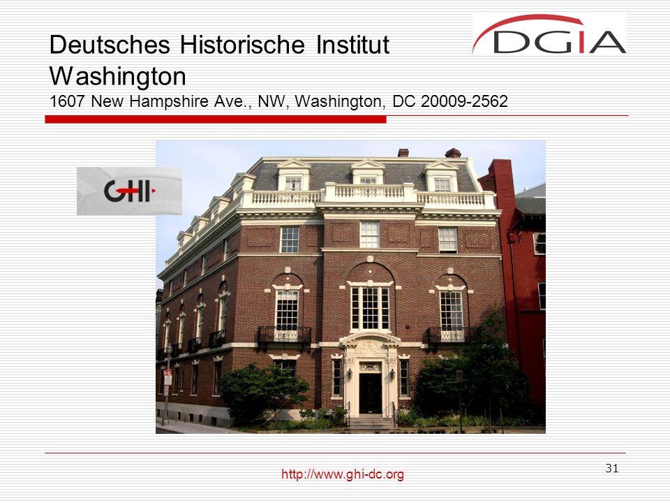 Deutsches Historische Institut Washington 1607 New Hampshire Ave
